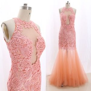 Lace Tulle Coral Prom Pageant Gown Formal Dress
